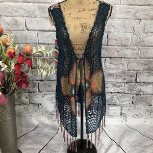 Boutique Crochet Floral Motif Fringed Boho Vest